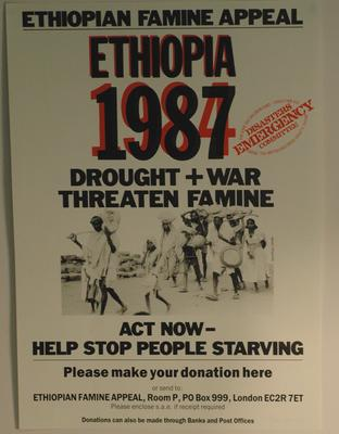 Poster to raise awareness of the Ethiopian Famine Appeal, 1987