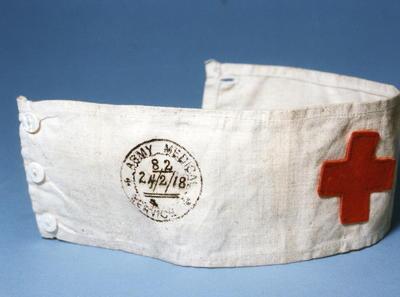 Brassard stamped Army Medical Service 82, 24 Feb 1918