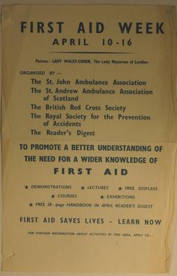 poster advertising First Aid Week