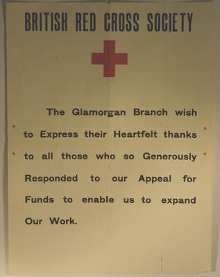 Glamorgan Branch poster: appreciation for response to appeal.