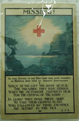poster to commemorate Red Cross volunteers who perished in Hospital Ships sunk by German submarines