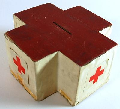 Wooden collecting box in the shape of the Red Cross emblem; Fundraising Equipment/collecting box; 551/35