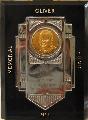 Presentation plaque: Oliver Memorial Fund Award 1951