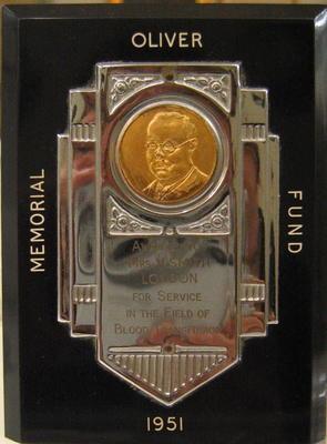 Presentation plaque: Oliver Memorial Fund Award 1951