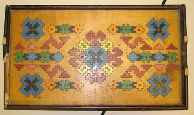 Colourful wooden marquetry tray
