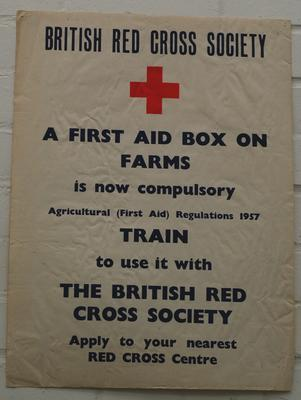 poster advertising Agricultural (First Aid) Regulations 1957 and requirement for first aid box on farms