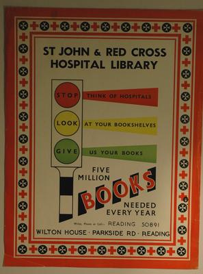 poster advertising the St John and Red Cross Hospital Library