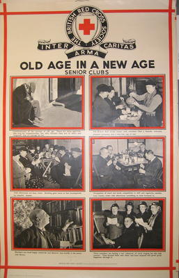 One of a set of posters mounted on card, each contains set of photographs with captions: Old Age in a New Age: Senior Clubs