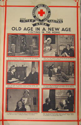 One of a set of posters mounted on card, each contains set of photographs with captions: Old Age in a New Age: Visiting in the Home