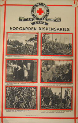One of a set of posters mounted on card, each contains set of photographs with captions: Hop Garden Dispensaries
