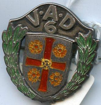 Detachment badge: 'VAD 6' with coat of arms and laurel wreaths