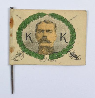 Collecting Day flag: Portrait of Kitchener with 'K - K' and 'Kitchener - Do Not Forget My Boys'
