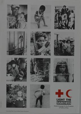 large poster produced for the Light the Darkness - World Campaign for the Protection of Victims of War