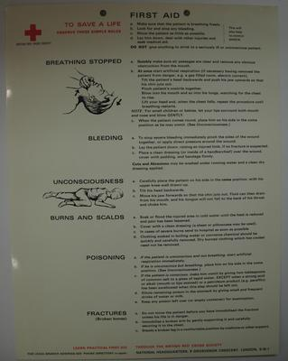 British Red Cross 'First Aid' instructions: 'To Save a Life Observe these Simple Rules' listing 'Breathing,' 'Bleeding,' 'Unconsciousness,' 'Burns and Scalds,' 'Poisoning,' and 'Fractures.'