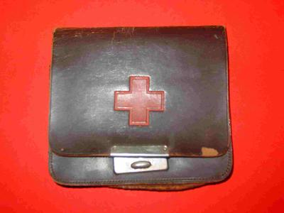 Brown leather purse with Red Cross emblem