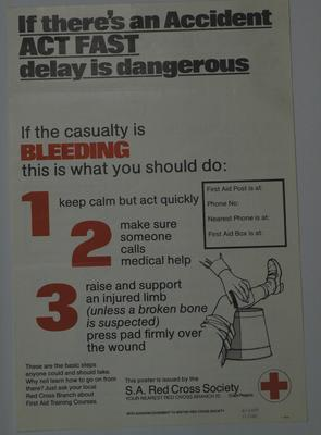 series of First Aid posters with instructions in English on one side and Africaan on the other