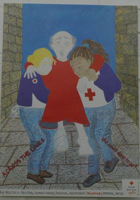 Youth poster on theme of 'Across the Lines' with child's drawing as the design