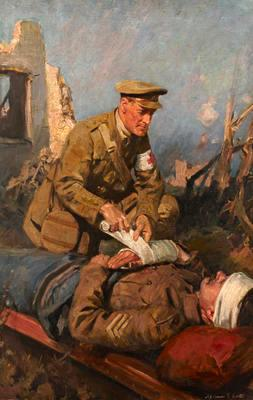 Oil painting: Medical Officer Attending the Wounded