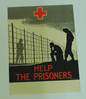 'Help the Prisoners', silhouette of camp scene with barbed wire, guard and two Prisoners Of War.