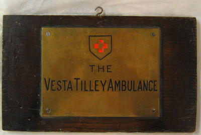 Vesta Tilley brass ambulance plate