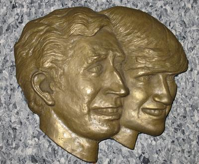 plaque featuring Prince Charles and Princess Diana