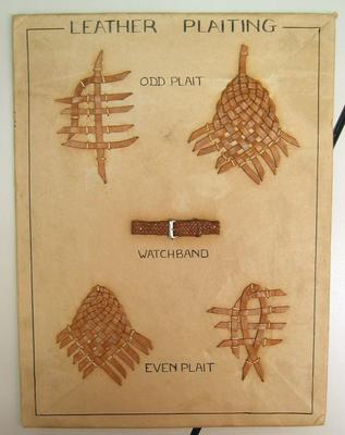 leather plaiting mounted on card from Australia
