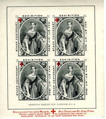 set of six postage labels, produced from the Lord Mayor's Red Cross and St John Fund