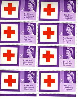 eight postage stamps: Red Cross Centenary Congress 1963, 3d