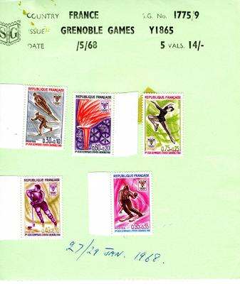 set of five stamps issued by France for the X Winter Olympic Games held at Grenoble, 1968