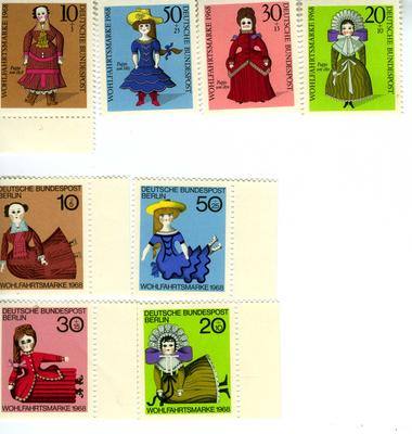 2 sets of four stamps issued by Germany (Federal Republic) for social welfare 1968, featuring old dolls