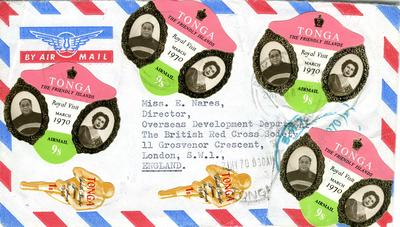 envelope with Tonga stamps