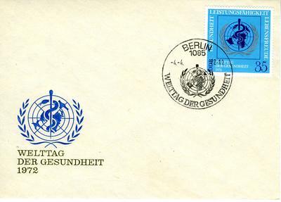 envelope with stamp: Welttag der Gesundheit 1972