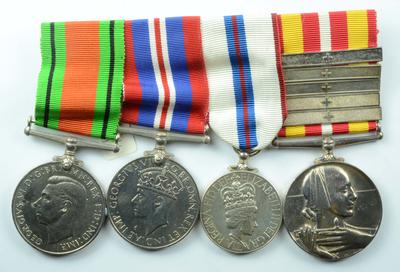 Group of medals: Defence Medal; War Medal 1939-1945; Silver Jubilee Medal 1977; VMW with 5 clasps