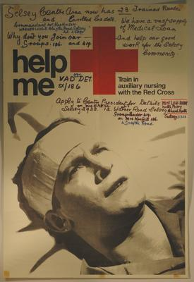 poster advertising auxiliary nursing with the British Red Cross