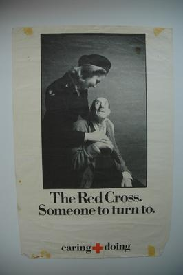 poster advertising the British Red Cross services for the elderly