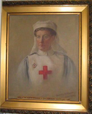 Oil painting of Miss Moore in British Red Cross uniform