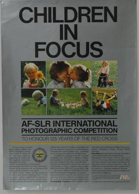 Poster advertising 'Children in Focus: AF-SLR International Photographic Competition to Honour 125 Years of the Red Cross.'