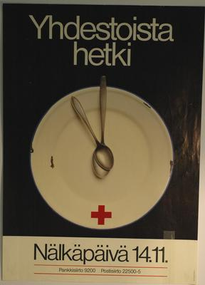 Poster for Finnish Red Cross Society campaign: Yhedestoista hetki: the Eleventh Hour.; Printed Docs (museum)/poster; 97(10)/6