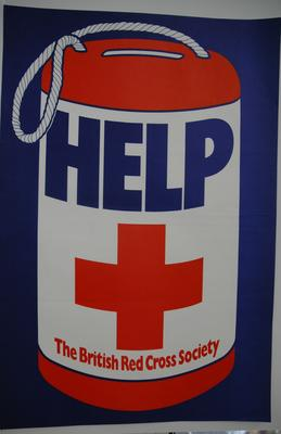 3 Large red and blue fundraising posters with collecting tin and 'Help' in large text; 4 'Help' flyers; 2 smaller posters