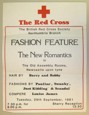 poster advertising a fashion feature at The Old Assembly Rooms, Newcastle upon Tyne, 1981