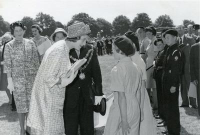 Princess Alexandra, Patron of the Junior Red Cross, speaking to two Bridgwater Division Cadets; RCB/2/9/5/62