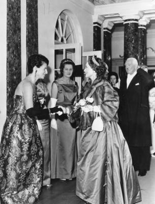 Duchess of Gloucester at the Centenary Ball in the Assembly Rooms, Bath, November 1963; RCB/2/9/5/52