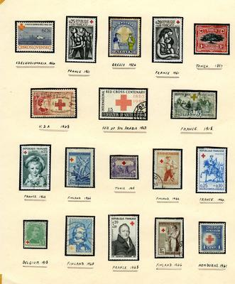 mounted postage stamps commemorating the Red Cross