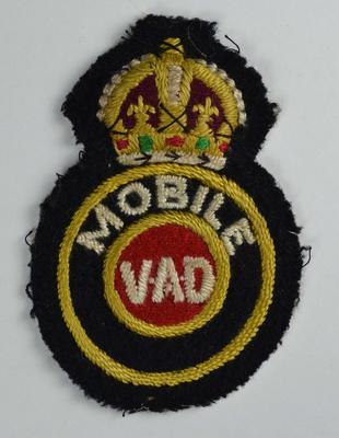Cloth insignia: Mobile VAD. BRCS Dorset 2 nos.11231 & 11232