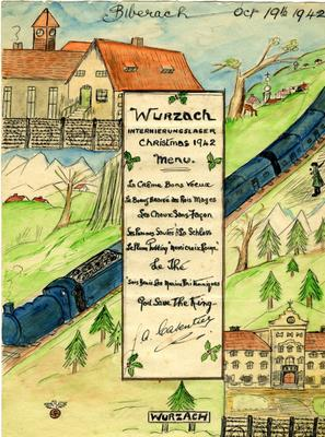 Hand drawn menu from Wurzach Civilian Internment Camp, Christmas 1942