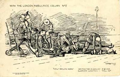Printed postcard with a cartoon of the London Ambulance Column No2