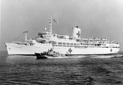 Black and white photograph. Hospital ship used in the Falklands War