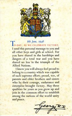 Official victory message from George VI to all schoolchildren