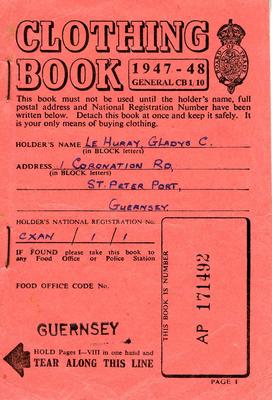 Clothing coupon book issued to Gladys C Le Huray