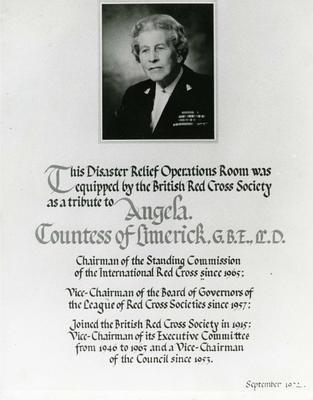 Angela, Countess of Limerick display plaque